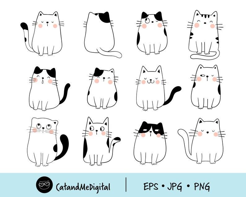 Clipart Doodle Cute Cat Digital Cat Download Cute Cat Clipart Kawaii Kittens Illustration Cat Lover Cat Pet Illustration Png Jpg Eps Cat Clipart Simple Cat Drawing Cute Easy Drawings