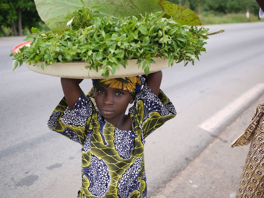 Greens by Sophie Brissaud on 500px | Greens vendor on the road, Paouignan, Benin