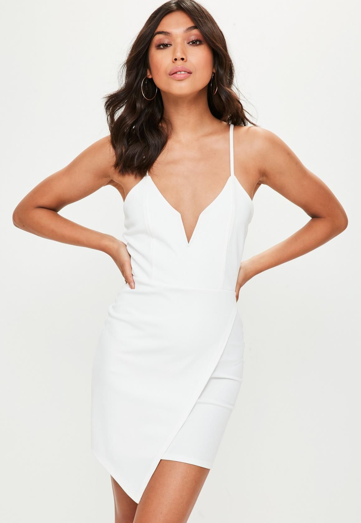 Missguided white v bar strappy wrap over bodycon dress trendy