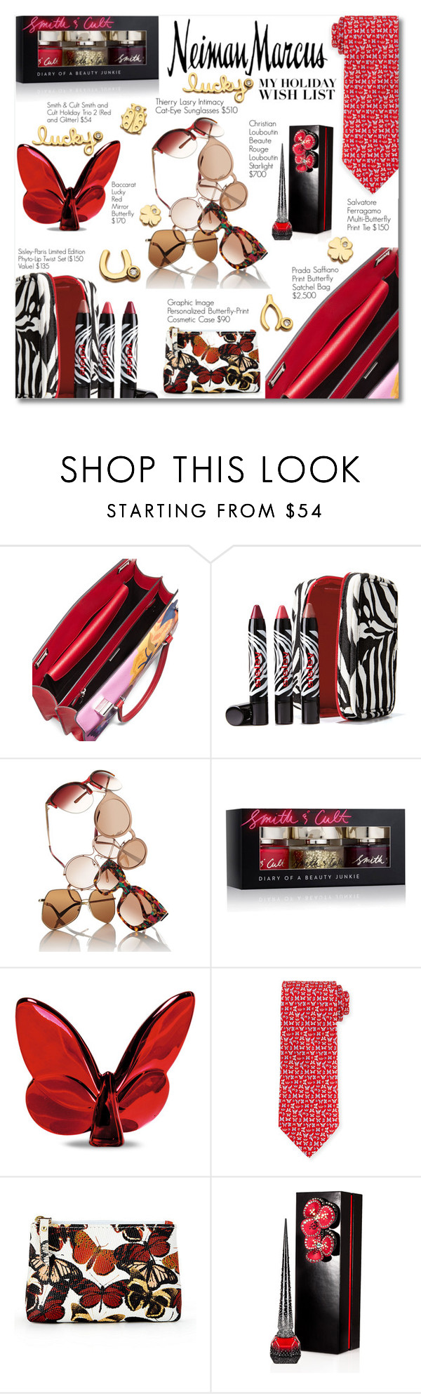 """""""The Holiday Wish List With Neiman Marcus: Contest Entry"""" by rivlyb ❤ liked on Polyvore featuring Prada, Sisley Paris, Thierry Lasry, Smith & Cult, Baccarat, Salvatore Ferragamo, Graphic Image, Neiman Marcus, Christian Louboutin and Sydney Evan"""