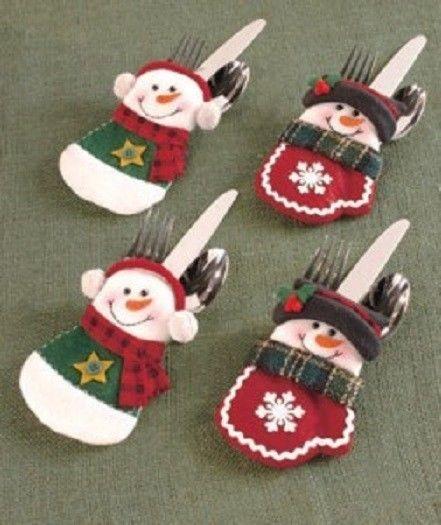 SET OF 4 CHRISTMAS SNOWMAN SILVERWARE FLATWARE HOLDERS FABRIC HOLIDAY DINNER