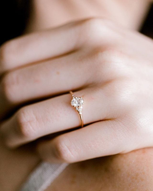 Photo of Oval women's slip-on ring with semi-carat oval diamond gold At melaniecasey.com …