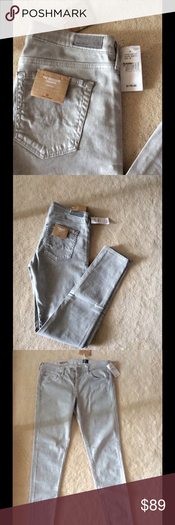 Brand new AG rare jeans Color - shimmery gray. Brand new with tags. Size -29. Stunning jeans AG Adriano Goldschmied Jeans Skinny