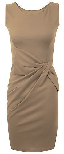 UK Big Bow Pleated Ponte Dress in Mocha | eBay