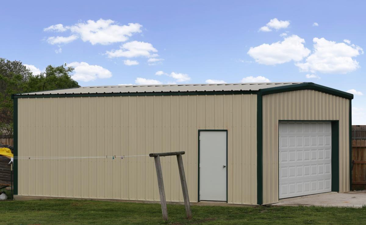 24 X 30 X 11 Garage Standard Series Metal Building Kit Photos Mueller Inc In 2020 With Images Metal Building Kits Metal Buildings Steel Buildings