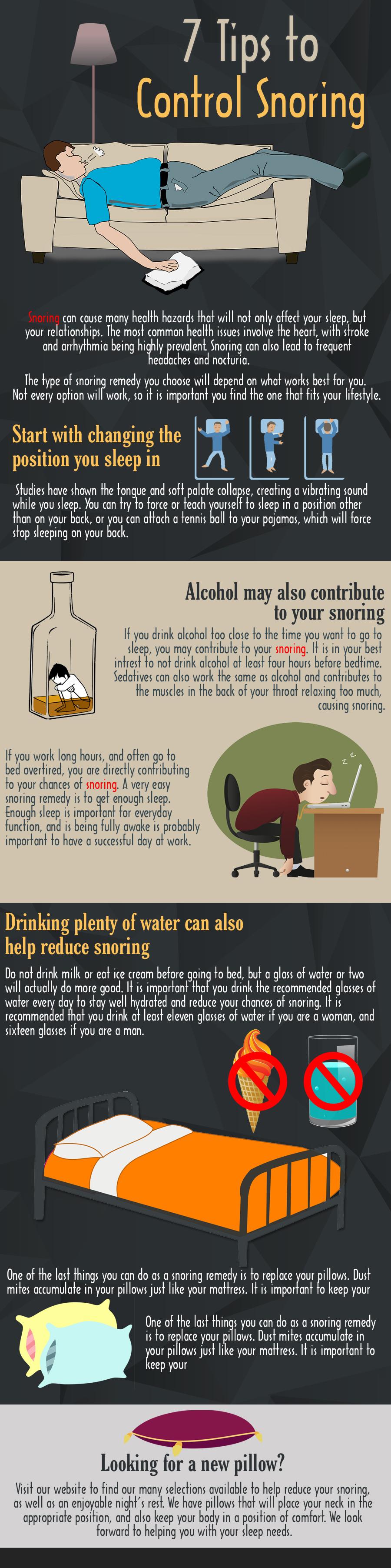 7 Tips To Prevent Snoring Infographic Sleep Apnea Pillow