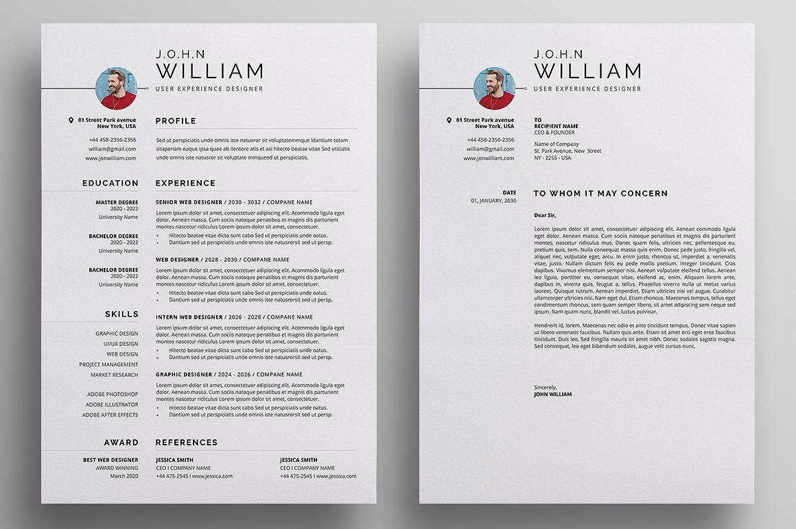 Resume/CV Resume template word, Unique resume template