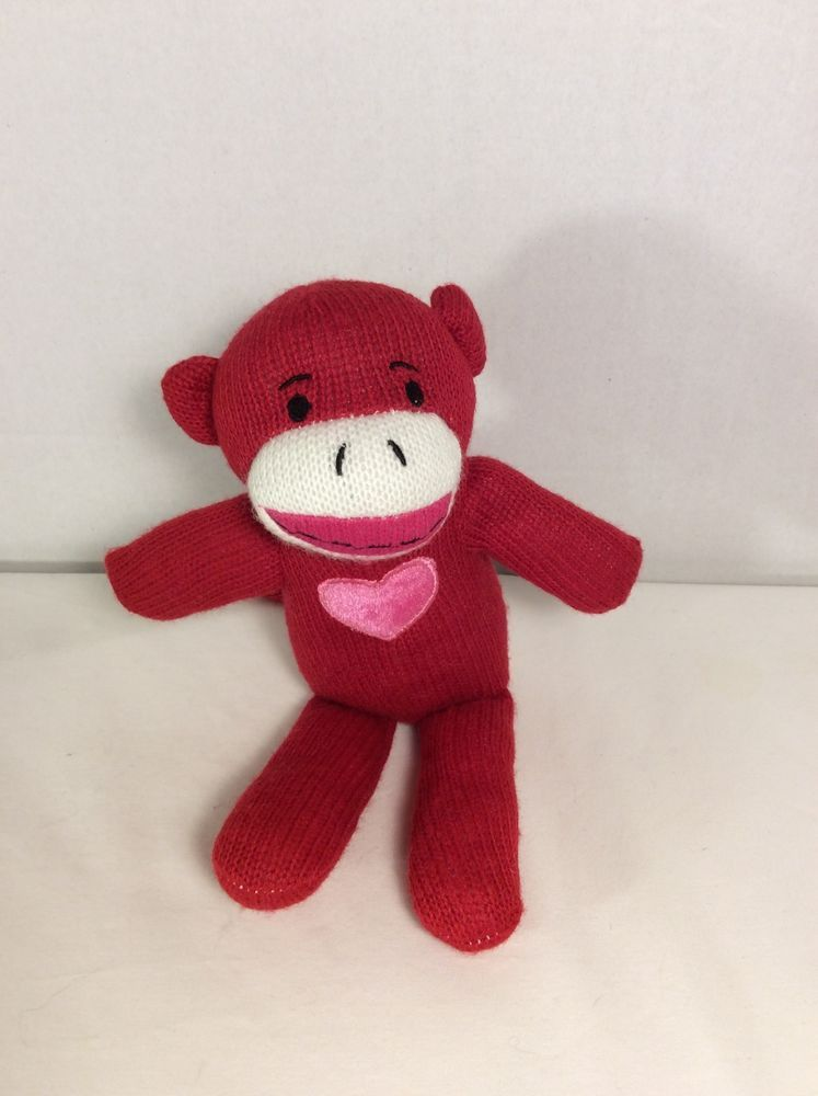 sock monkey plush sock monkey stuffed animal red valentines day pink heart - Valentines Animals