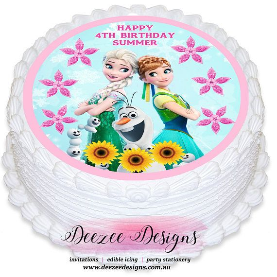 Frozen Fever Round Edible Icing Cake Topper  catchmyparty   frozenbirthdayparty  birthdaycake  princessparty 3b4f2b0be10c6