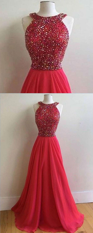 Red chiffon open back scoop neck long senior prom dress long open