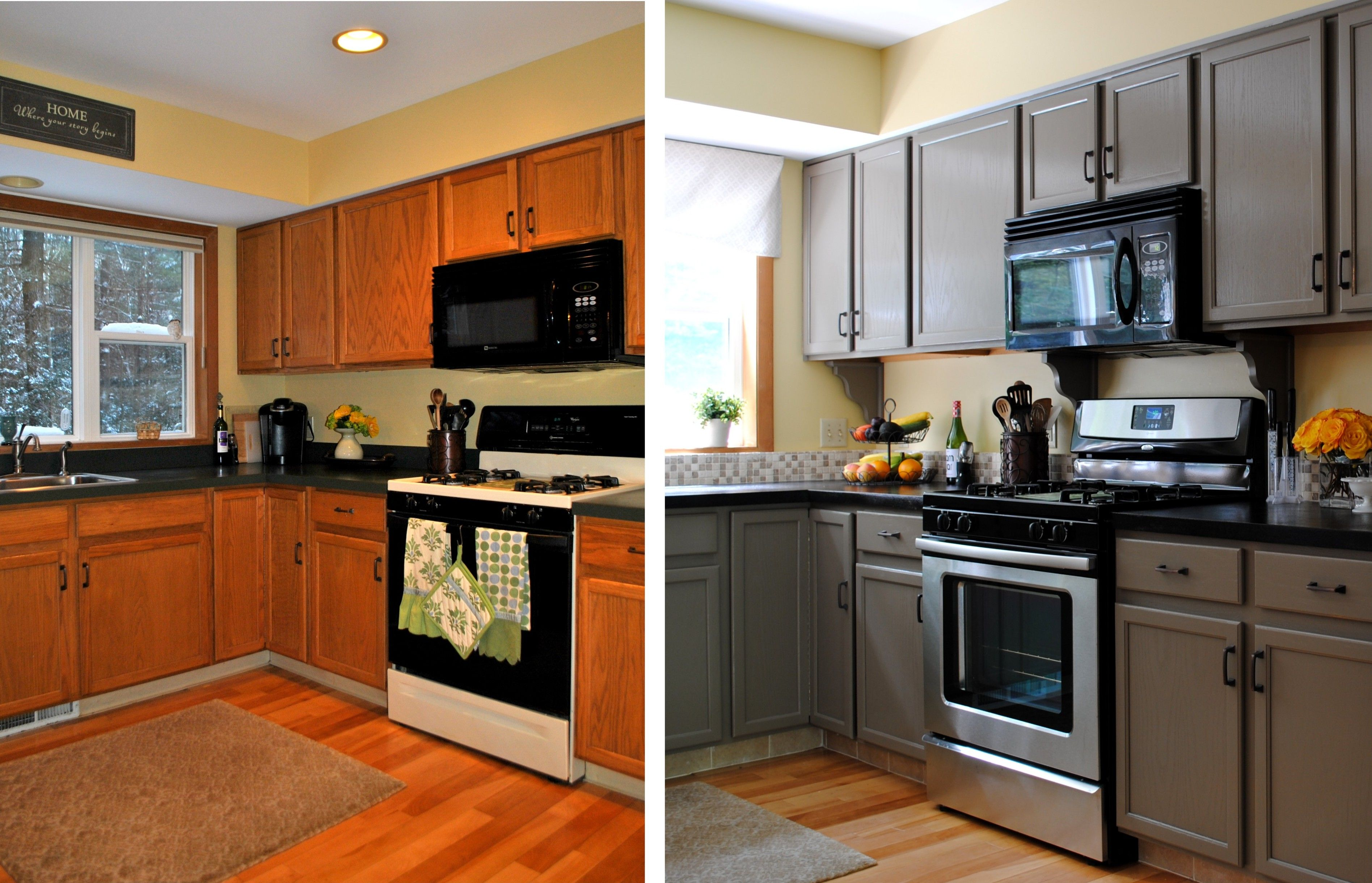 cool Best Painted Kitchen Cabinets Before And After 64 For Small ...