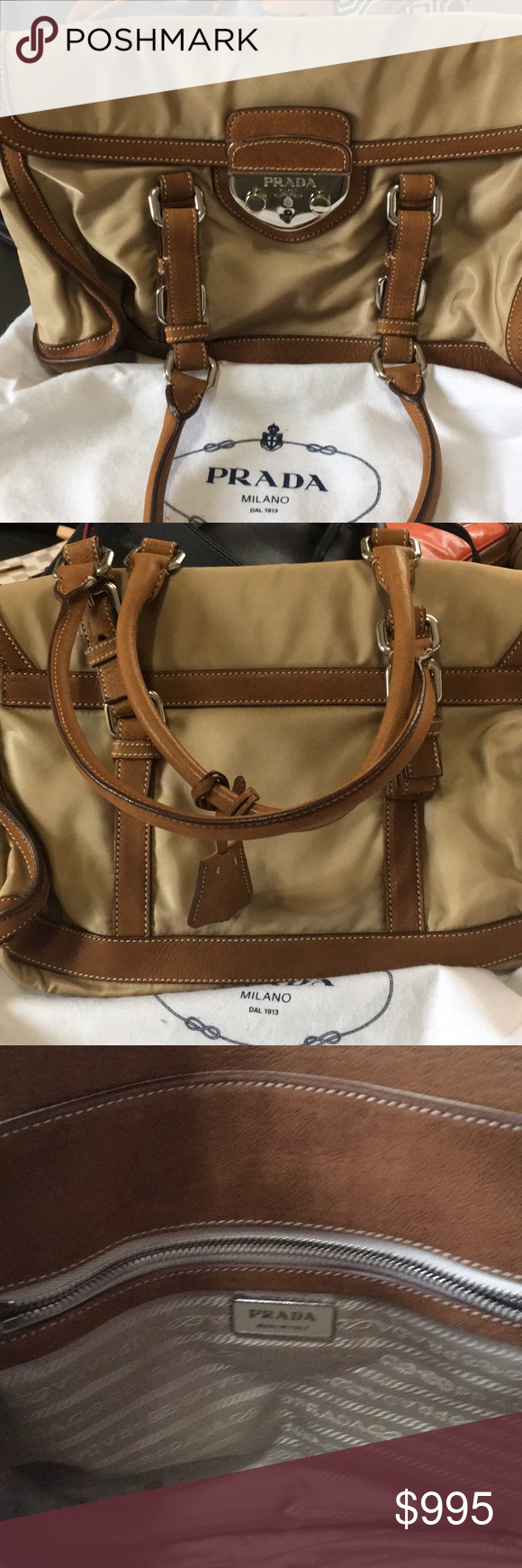 f6f631a01372a9 Prada Tessuto canvas and leather handbag handbag bought from SF prada  boutique I'm trying