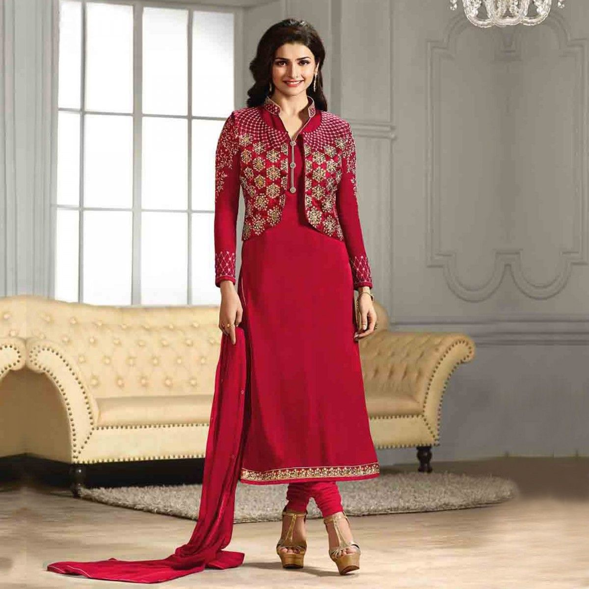 Buy Red Party Wear Georgette Suit for womens online India, Best ...