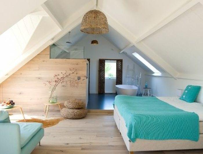 deco-chambre-mansardee-deco-chambre-sous-comble-sol-en-parquet-clair ...