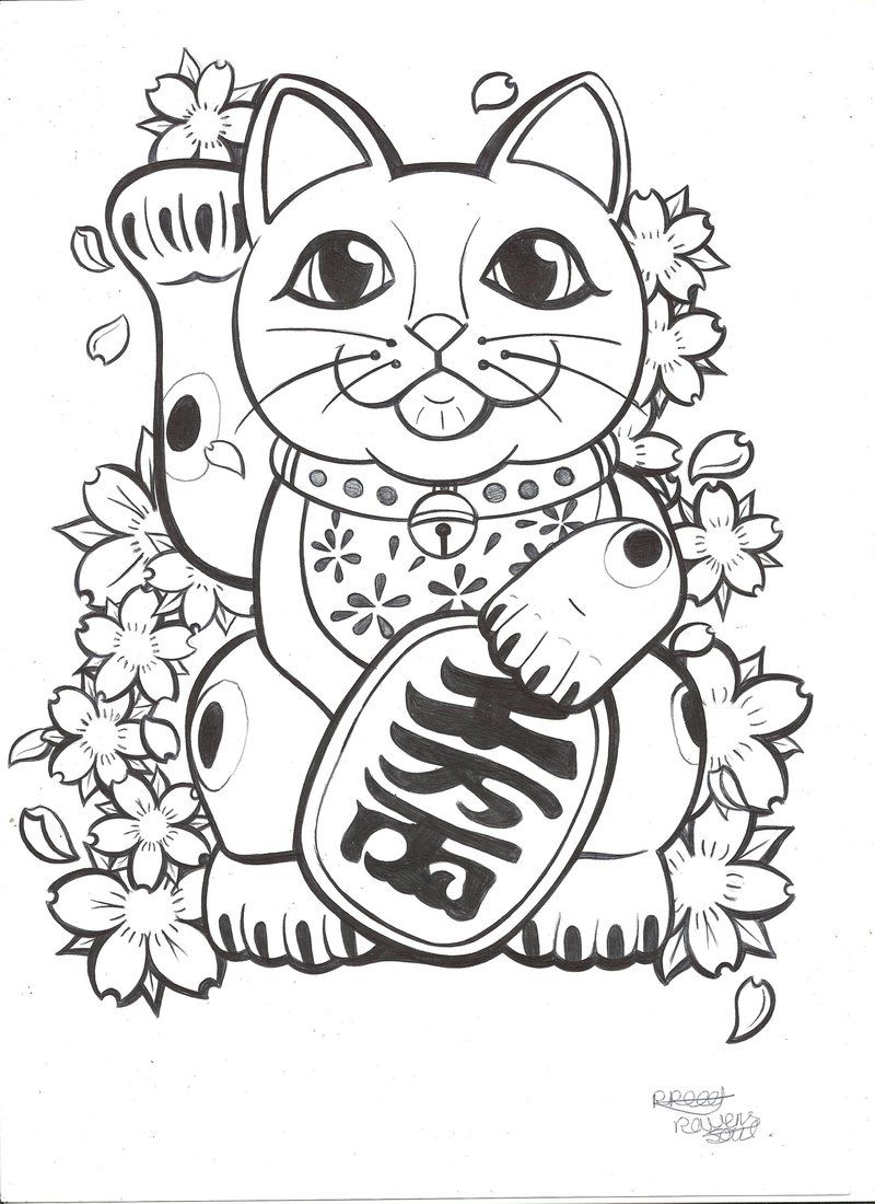 Lucky Cat Tattoo Commission By Ravenssouldesigns On Deviantart Lucky Cat Tattoo Cat Tattoo Designs Cat Tattoo