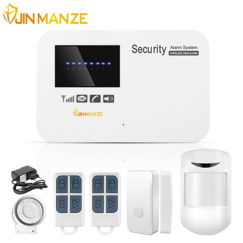JINMANZE IOS Android APP Control Wireless Home Security GSM Alarm System  Intercom Remote Control Autodial Wired