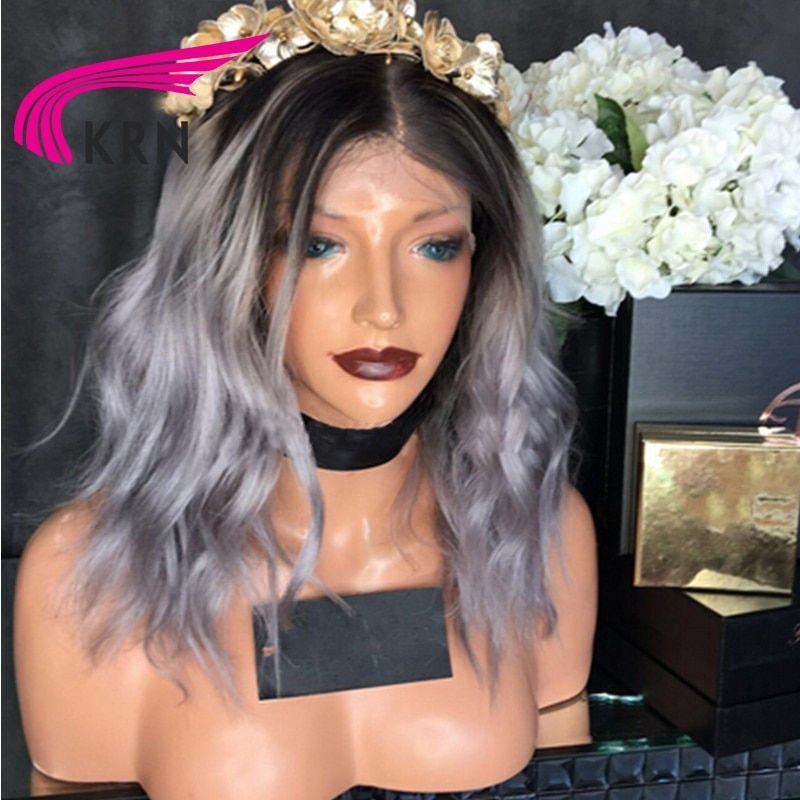 KRN 1B/Grey Ombre Color Lace Front Human Hair Wigs With
