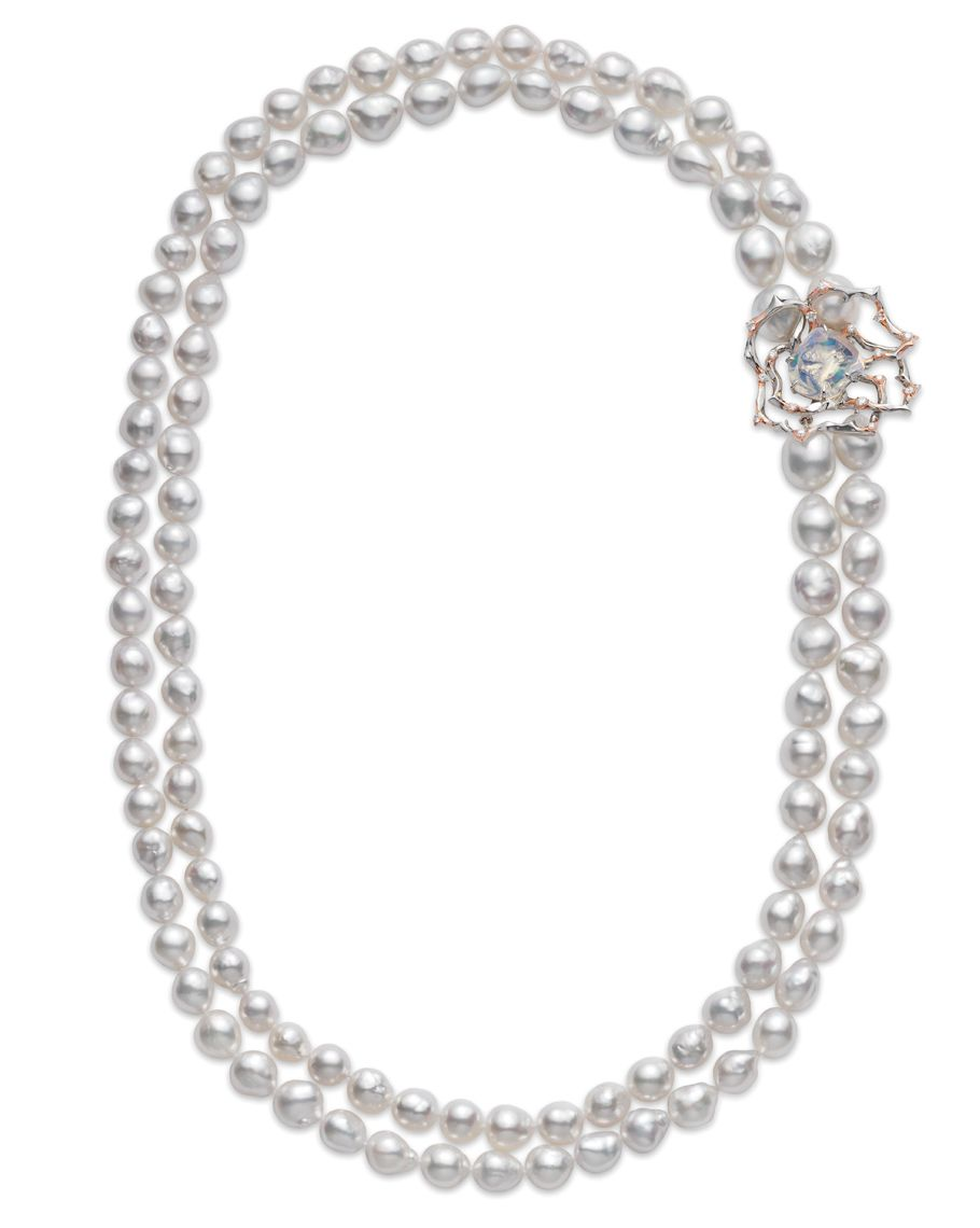 The Double Strand White South Sea Baroque Cultured Pearl Necklace Is  Adorned With A Platinum,