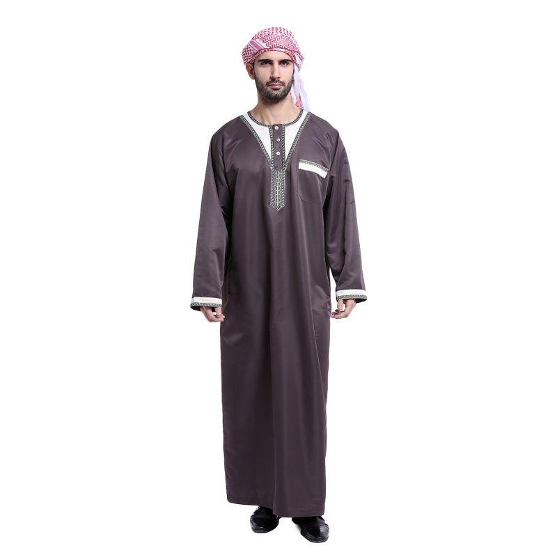 Men Saudi Thobe Jubba Dishdasha Thoub Abaya Robe Daffah Islamic Arab Kaftan Robe