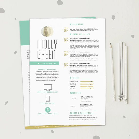 resume cv template cover letter design for word by oddbitsstudio 1880