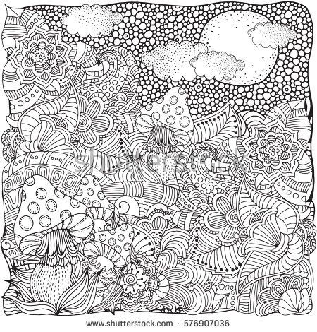 Fantasy fairy mushrooms in the magic forest. Black and white Pattern ...
