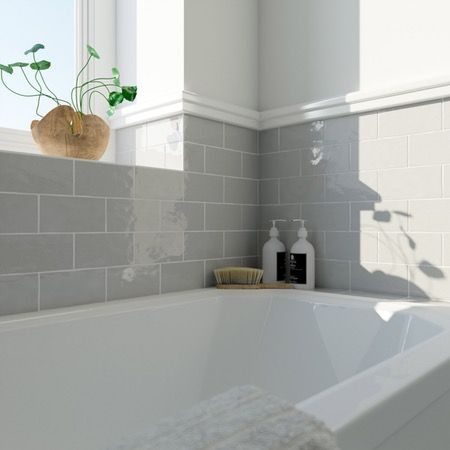 Laura ashley artisan french grey gloss wall tile 75mm x 150mm grey bathroom tiling aloadofball Gallery