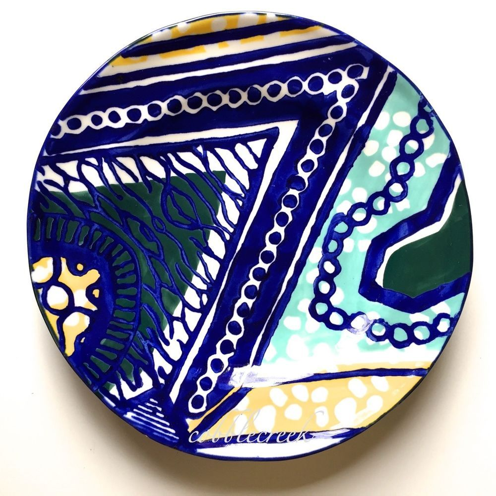 """Anthropologie Habari Side New Plate Blue Yellow Turquoise   8.75"""" Salad DISC #Anthropologie"""