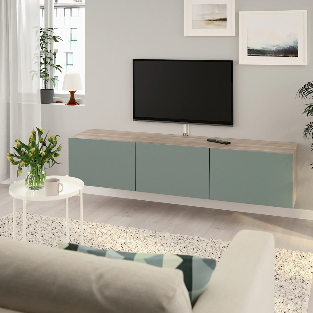 Besta Tv Unit With Doors Walnut Effect Light Gray Notviken Gray Green Ikea In 2020 Tv Bench Tv Unit Wall Mounted Tv Unit