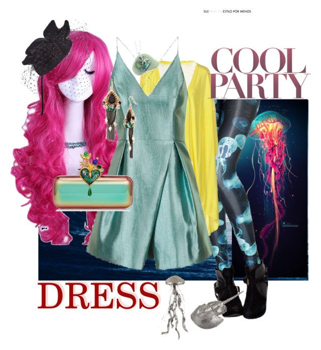 """Cool Party Dress"" by saint-germain on Polyvore featuring Topshop, Jimmy Choo, Natasha Couture, Christian Lacroix and Scala"