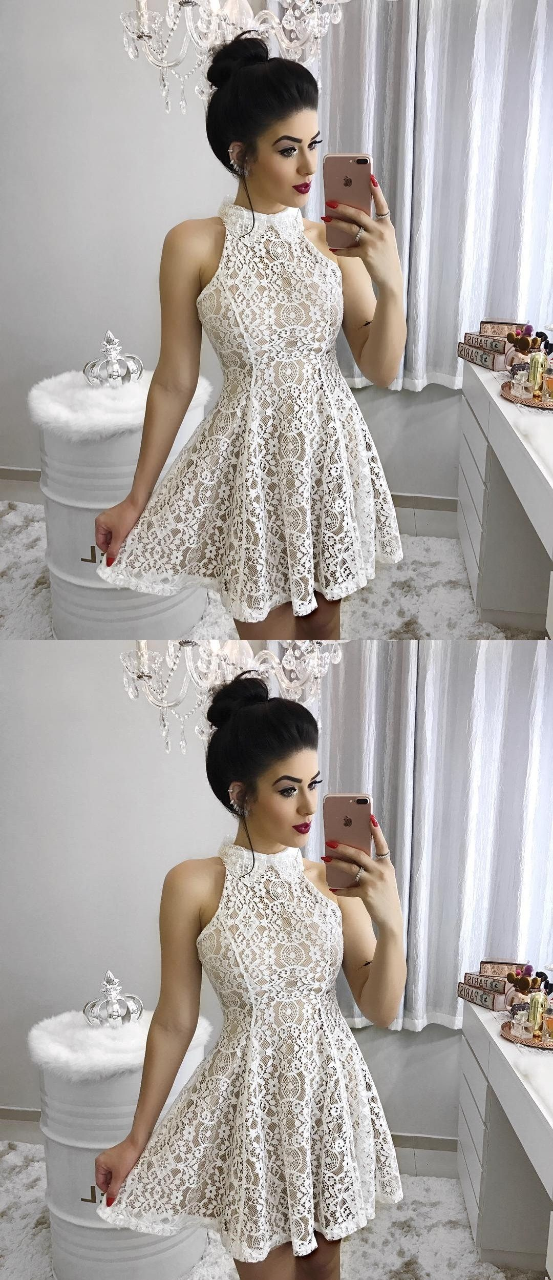 Aline high neck short sleeveless ivory lace homecoming dress lace
