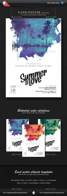 PSD Summer Of Love - Party Flyer, Poster Template A3  • Only available here ➝ http://graphicriver.net/item/summer-of-love-party-flyer-poster-template-a3/16470682?ref=pxcr