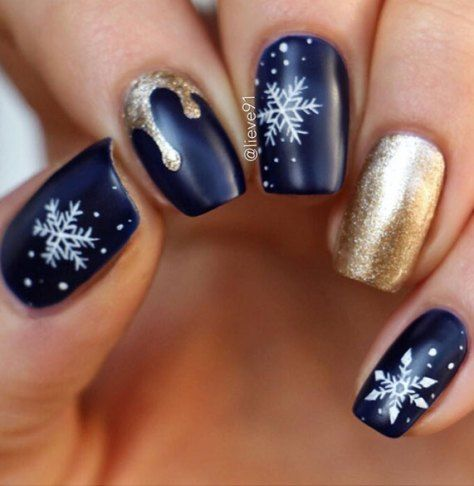 Blue and gold winter nail art design,winter nail polish