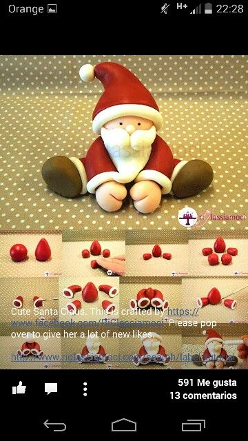 Papa Noel Pate A Sucre Pinterest Noel Fimo Noel And Gateau Noel