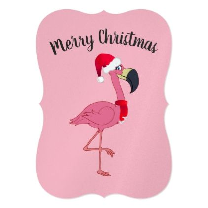 Christmas Pink Flamingo Flat Card W Envelope Zazzle Com Holiday Design Card Pink Christmas Pink Flamingos