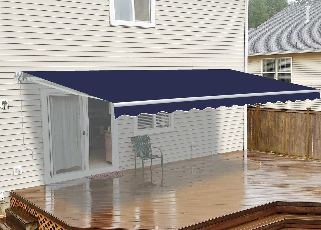 10 Ft W X 8 Ft D Fabric Retractable Standard Patio Awning Patio Awning House Awnings Patio