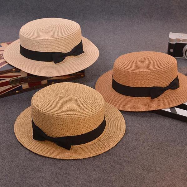 Cute Children Sun Hats Bow Hand Made Women Straw Cap Beach Big Brim hat