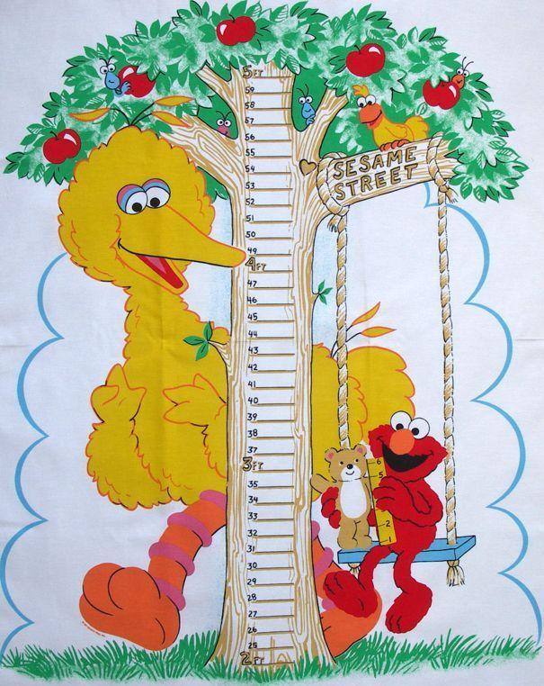 Big Bird Sesame Street Fabric Growth Chart Wall Hanging Elmo Teddy