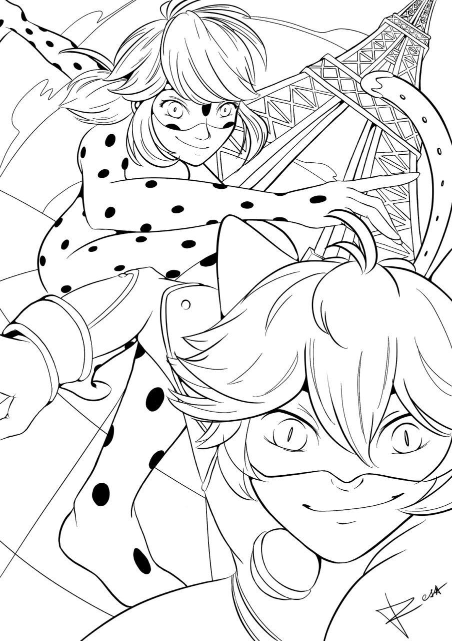 Inktober Days 26 27 And 28 With Our Heros Of Paris Resadentevil Ladybug Coloring Page Ladybug Art Miraculous Ladybug