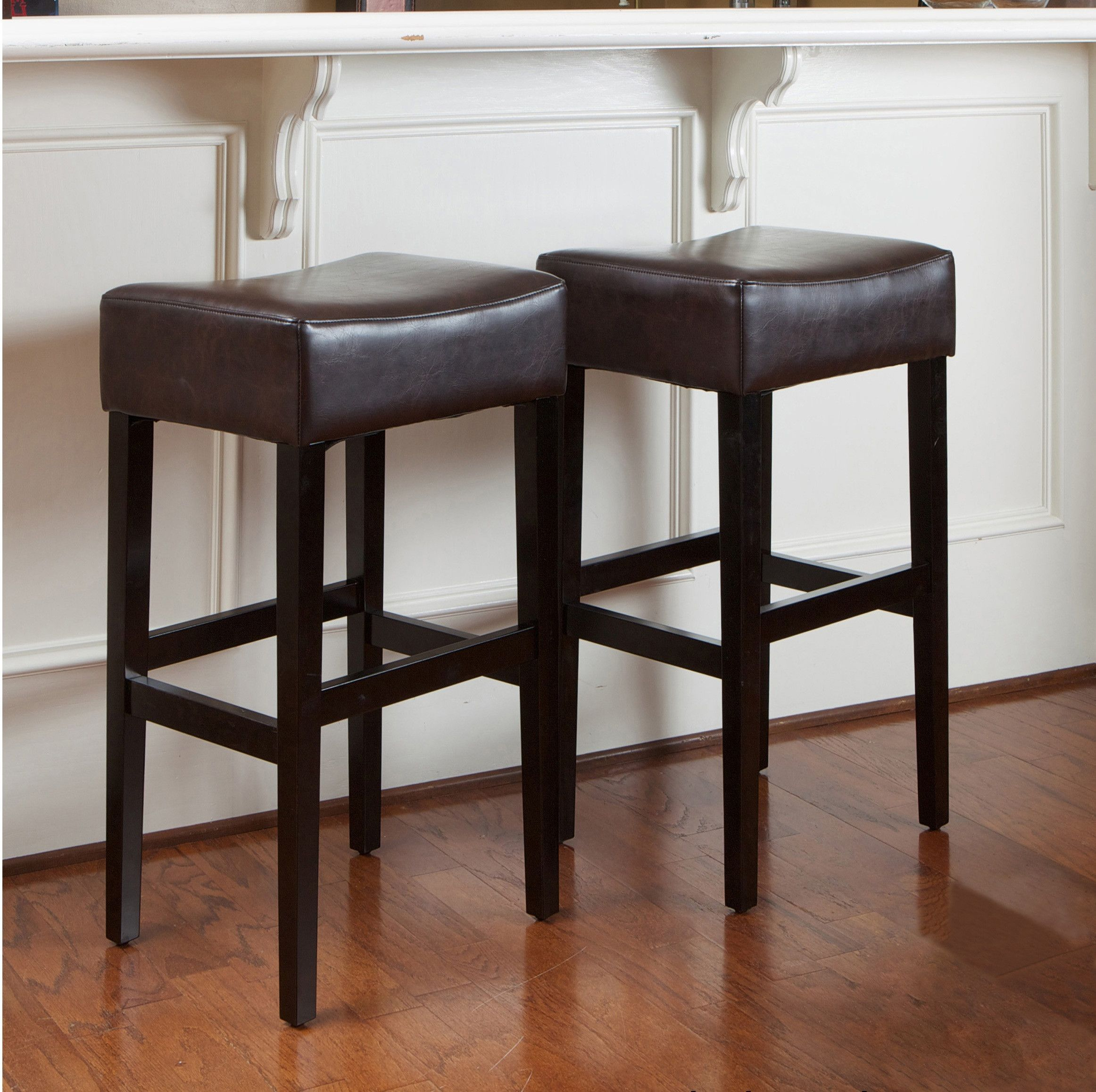 Duff 31 Inch Backless Leather Bar Stools Set Of 2 Backless Bar