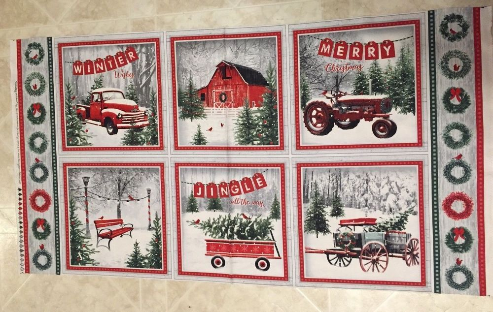 Christmas Fabric Red Truck Collage Panel from Springs Creative 100/% Cotton Sold by The Panel Fabric by The Yard