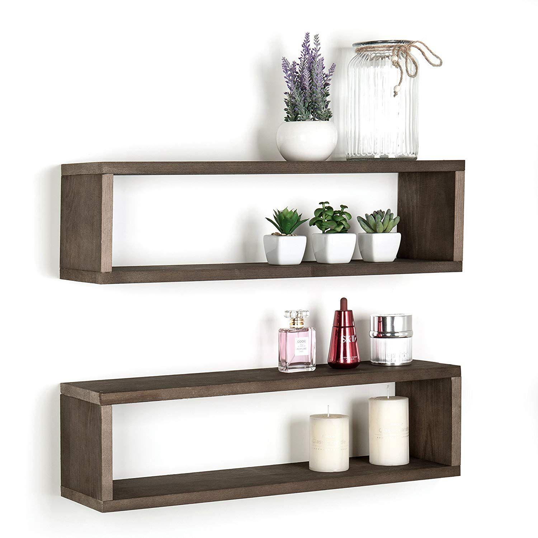 Dark Brown Wood Finish Wall Mounted 24 Inch Floating Shelf Rectangular Display Shadow Boxes Set Of 2 Derevyannye Polki Idei Dlya Doma Nastennye Polki
