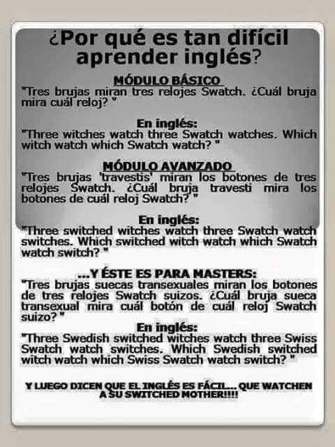 Trabalenguas En Inglés Witch Watch Learn English Words