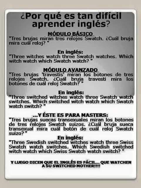 Trabalenguas En Inglés Witch Watch Learn English Words