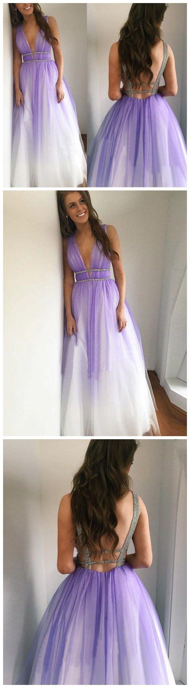 prom dress aline straps ombre sleeveless elegant long prom