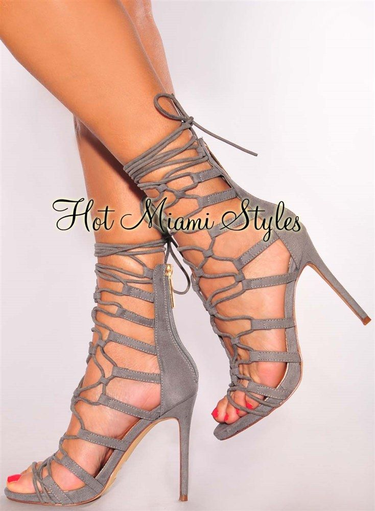 469d88a66d8 Gray Faux Suede Crisscross Lace Up High Heels in 2019