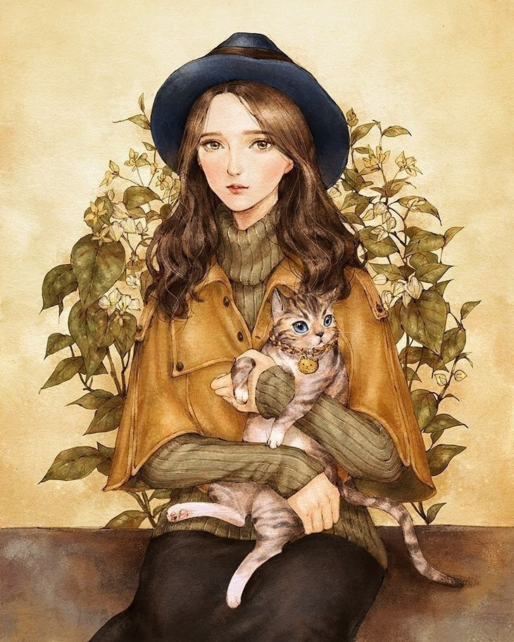 Картинка девочка держит кошку