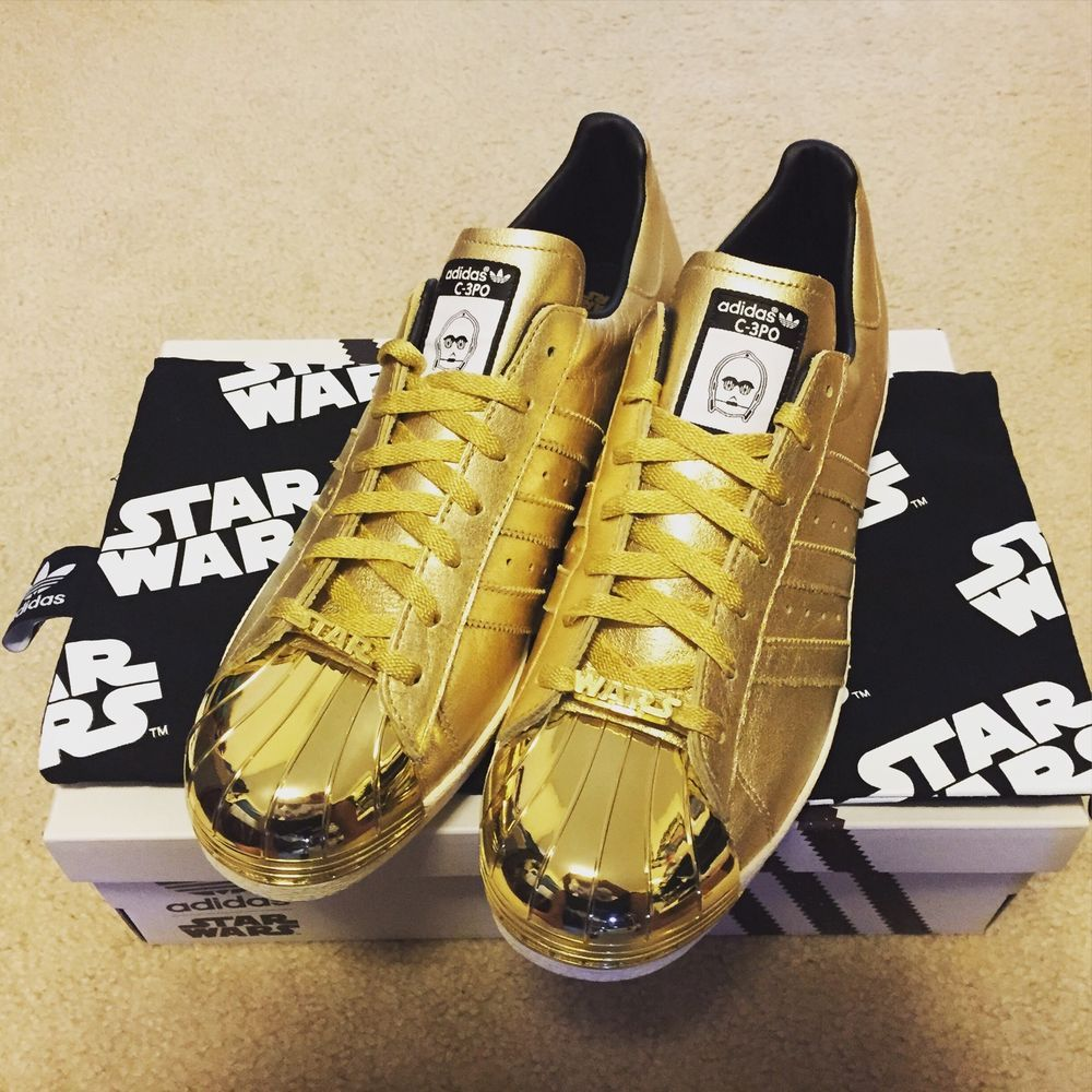 72579592347a Adidas Superstar Star Wars C3PO Edition Gold Color Size 12 Brand New in  Clothing