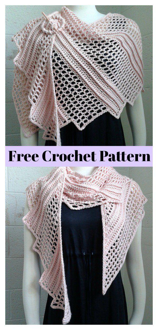 Lizard Shawl Free Crochet Pattern | Tücher, Schal Muster und Häkeln
