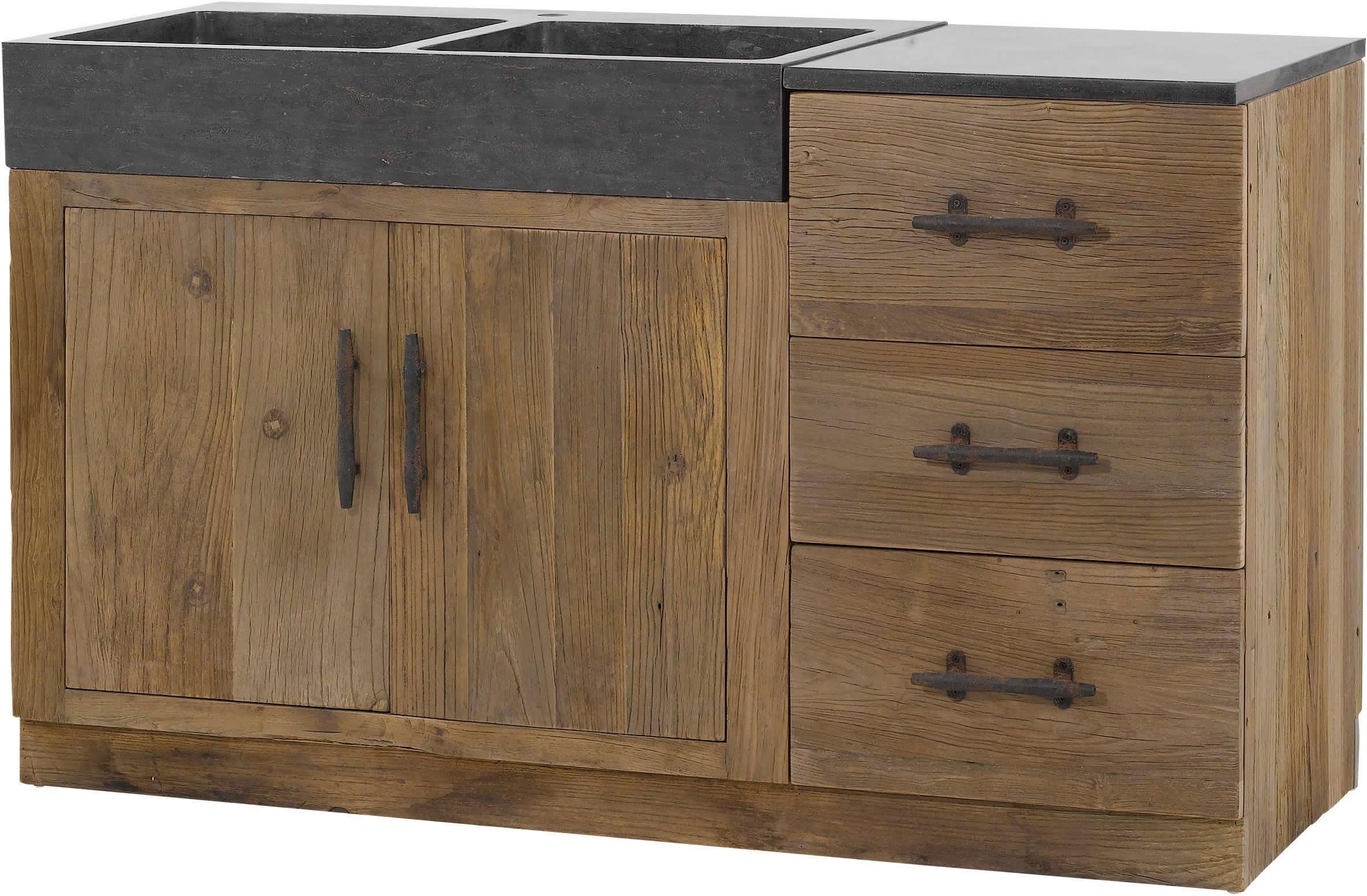 Meuble de cuisine 144x56 5x83 5cm combloux tek import cuisine en bois - Cuisine meuble bois ...