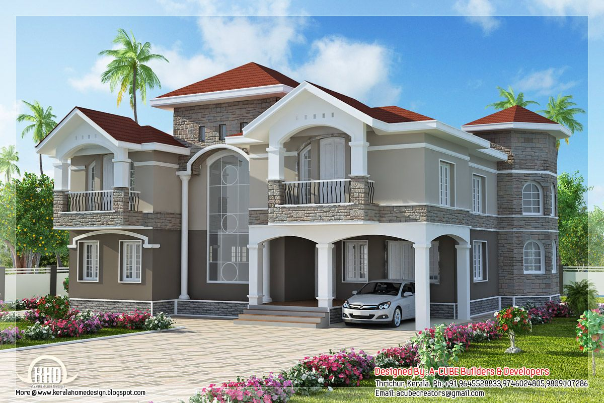 4 Bedroom Double Floor Indian Luxury Home Design Kerala Home Kerala House Design Luxury House Designs House Design Photos